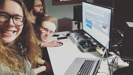 Blind Tiger working on their album in their home studio. Picture: Supplied by Blind Tiger