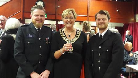 Watton Mayor Tina Kiddell with PC Austin Clarke and PC Ed Arbuthnot. Picture: Watton Town Council