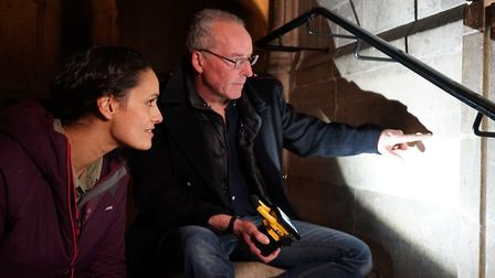 Anthropologist Mary-Ann Ochota visiting Norwich Cathedral with archaeologist Matthew Champion. Pictu