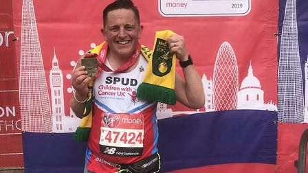 David 'Spud' Thornhill after he finished the London Marathon. From David 'Spud' Thornhill Twitter.