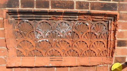 Decorative terracotta brick detailing at Thetford station, which will be restored. Picture: Greater