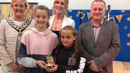 Students Lily Bennetts and Millie Turnbull with judges Tina Kiddell, Becky Watts and Ian Warnes. Pic