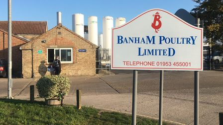 Police at Banham Poultry in Attleborough. Picture Simon Parkin.