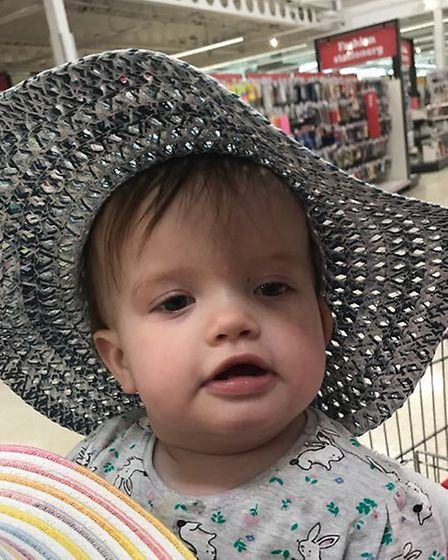 Fifteen month old Grace Roberts was diagnosed with fluid on the brain. Photo: Submitted