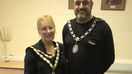 Newly elected mayor of Swaffham Jill Skinner, left, pictured with new deputy mayor Keith Sandle. Pho