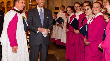 Prince Edward visited Norwich Cathedral to support the appeal to restore the 19th century organ. Pho