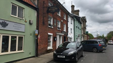 Pastel and brick restaurants on Queen's Square, Attleborough. Photo: Bethany Wales
