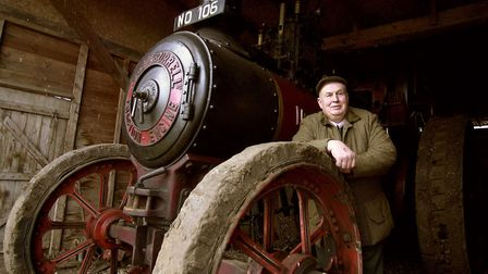 Richard Parrott with the 1907 thrashing traction engine called Dreadnought at his farm at Weeting. P