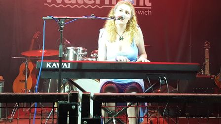Bridget Holmes performing at Unsigned Live at The Waterfront. Picture: Wayne Savage