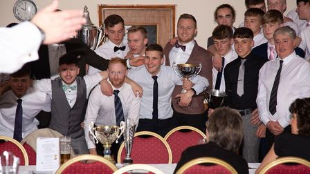 Swaffham Town players and officials in a happy mood at the club's presentation evening Picture: EDDI