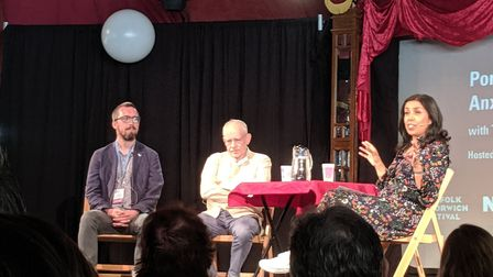 The Portrait of an Anxious Nation event with Tom Bolton, James Meek and chaired by Nina Nannar. Phot