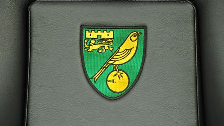 Norwich City crest on the dugout seats at Carrow Road. Picture: Richard Blaxall/Focus Images Ltd