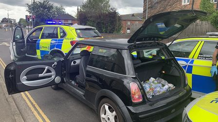 Police swooped to stop a car in Watton. Three people were arreested. Picture: Norfolk Police