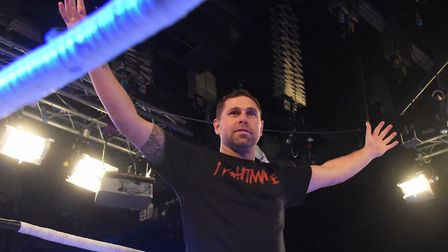 Grant Holt ready for his wrestling match at Epic Studios. Picture: DENISE BRADLEY
