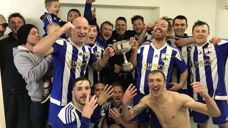 Riverside Rovers, who completed a league and cup double in the Norwich Sunday League, celebrate thei