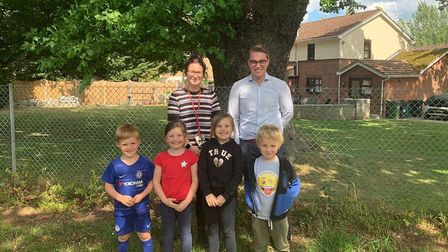 Swaffham school, from left to right: Cara Butters and Marcus Glover with children from Swaffham Infa