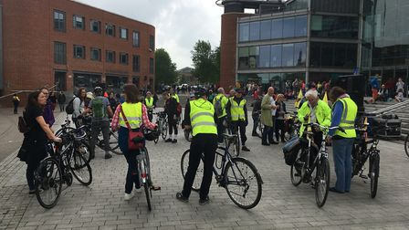 Extinction Rebellion activists taking part in a critical mass bike ride earlier this year. Photo: Be