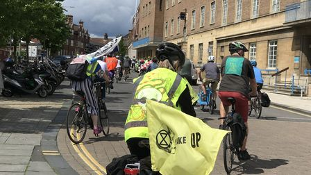 Extinction Rebellion activists setting off on a critical mass bike ride around Norwich on Saturday.