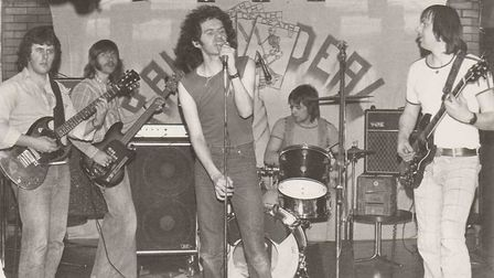 Tributes have been paid to Norwich rock singer Eric Gough, pictured centre with covers band Raw Deal