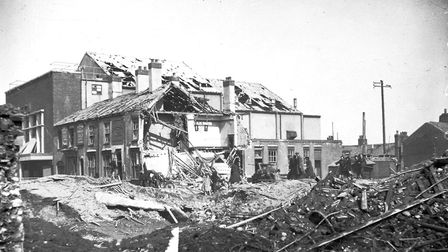 Bomb damage on Dereham Road in the Second World War. Photo: Archant Library