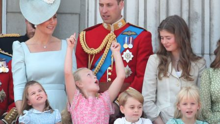 The Duke and Duchess of Cambridge with Princess Charlotte, Savannah Phillips, Prince George and Isla