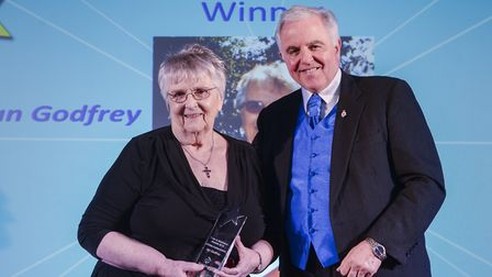 In 2015 Mrs Godfrey was awarded the Lifetime Achievement Award at the Pride in Breckland Awards. Pic