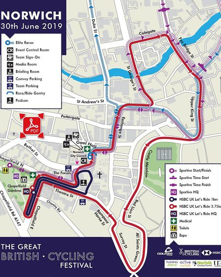 The map for Let's Ride Norwich on Sunday, June 30, showing the roads that will be closed. Photo: Bri