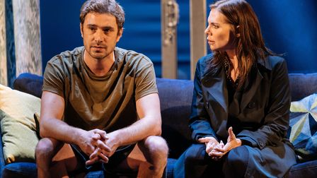 Oliver Farnwell, as Scott Hipwell, and Samantha Womack, as Rachel Watson, in The Girl on a Train. Pi