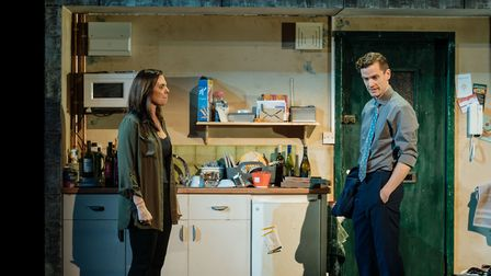 Samantha Womack, as Rachel Watson, and Adam Jackson-Smith, as Tom Watson, in The Girl on a Train. Pi