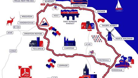 A map showing the women's road race route. Photo: British Cycling