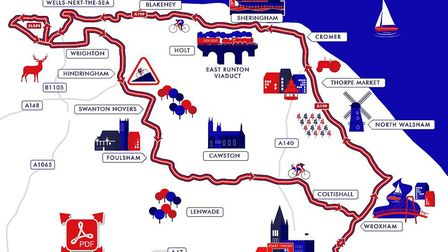 The map showing the men's road race on Sunday, June 30. Photo: British Cycling