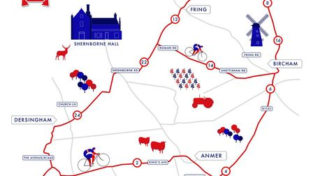 The map showing where time trials will take place on Thursday, June 27. Photo: British Cycling