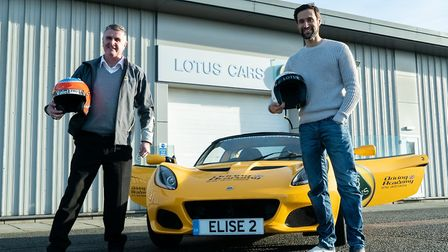 Rik Makarem (right) with former Formula One racing driver Martin Donnelly. Picture: Norwich Theatre