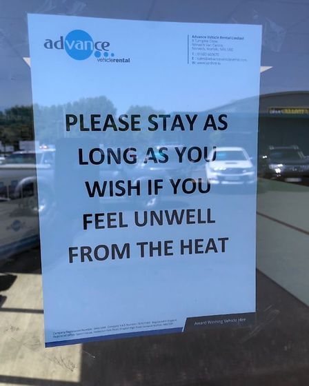 The sign outisde Advance Vehicle Rental in Norwich, welcoming people in who are suffering from the h