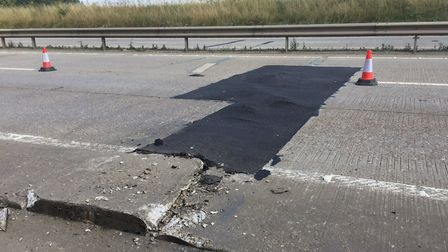 The tarmac on the A11 has melted. Picture: NSRAPT
