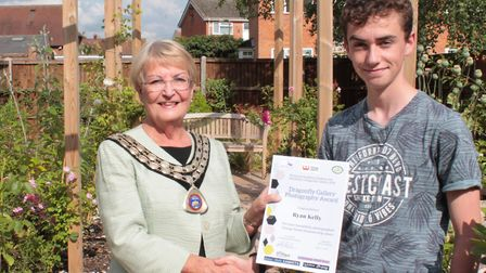 Mayor of Watton, Pat Warwick, with student Ryan Kelly. Picture: Ruth Stanley