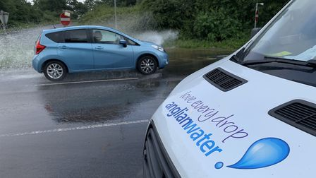 Anglian Water pulls up to deal with the flooding on the A47 slip road PICTURE: Matthew Farmer