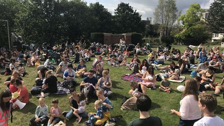 The Big Latch On in Norwich saw 114 mothers feed their children at 10.30am in the Castle gardens. Pi