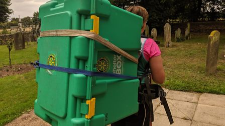 Charlie Houlder-Moat is walking the Peddars Way route with a ShelterBox crate on her back, Picture: