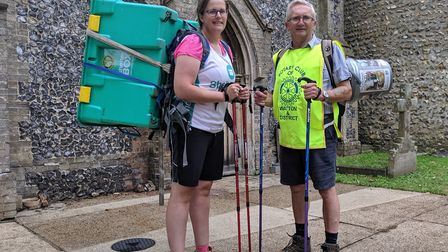 Charlie Houlder-Moat and Paul Weatherill are walking the Peddars Way route with a ShelterBox crate o