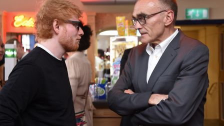 Ed Sheeran chats to director Danny Boyle at the Gorleston Palace cinema for the local premiere of th