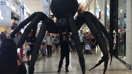 Arachnobot, the world's first giant spider puppet, visited intu Chapelfield as part of their celebra