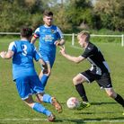 Swaffham Town's Ryan Pearson scored both his side's goals Thetford Town Picture: EDDIE DEANE