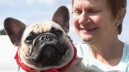 Owner Linda Quin with Nancy, her one-year-old French bulldog at the Old Buckenham dog show celebrati