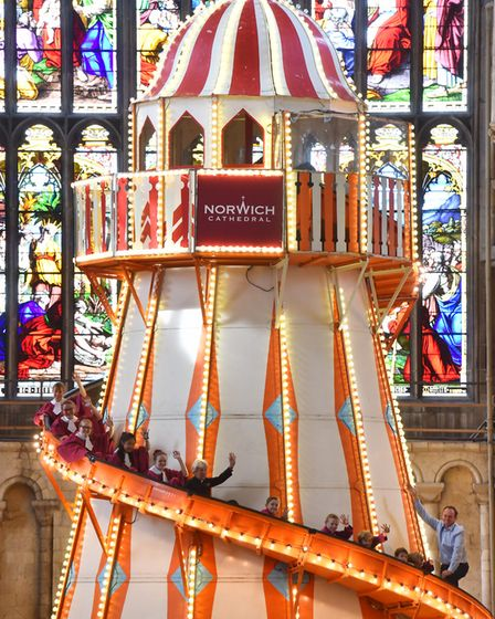 The Helter Skelter installed in Norwich Cathedral as part of their 'Seeing It Differently' project.