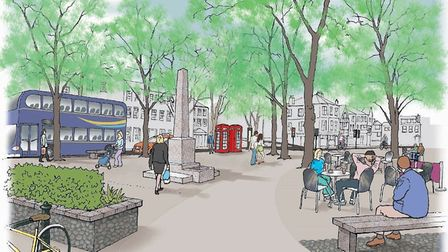 An artist's impression of how Tombland could look. Pic: Transport for Norwich