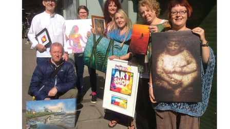 Some of the local artists who will be bringing their work to Norwich Market. From left: Ken Hurst, G