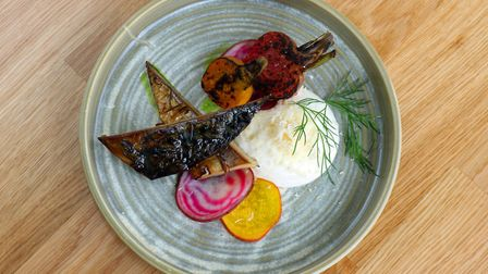 Chargrilled smoked mackerel with roasted and pickled beetroot and a horseradish creme fraiche Pictur