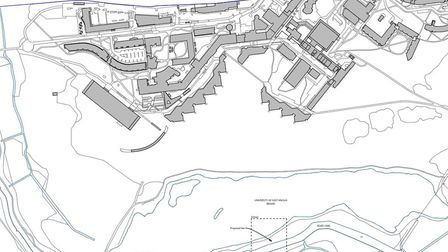 Map showing the proposed location for a new sculpture near the UEA Broad. Picture: Hudson Architects