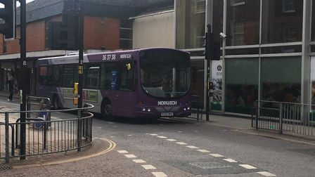 Broken down bus on Magdalen Street, close to Cowgate. PIC: Peter Walsh.